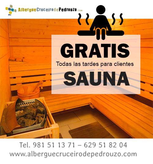 Gratis Sauna Albergue Cruceiro de Pedrouzo